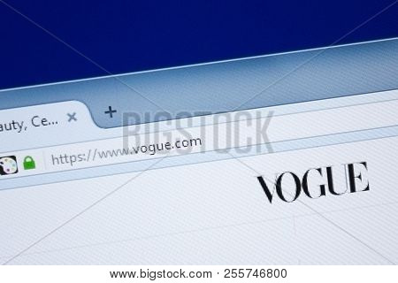 Ryazan, Russia - August 26, 2018: Homepage Of Vogue Website On The Display Of Pc, Url - Vogue.com.