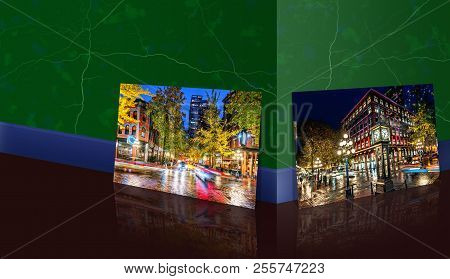 Near The Marble Wall Is A Panoramic Photo Of A Night On The Street In The Old Part Of The Big City W