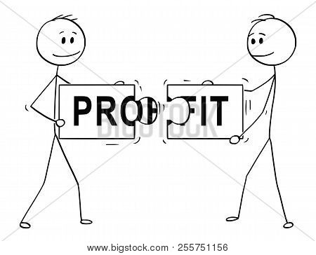 Cartoon Stick Man Drawing Conceptual Illustration Of Two Businessmen Holding And Connecting Matching