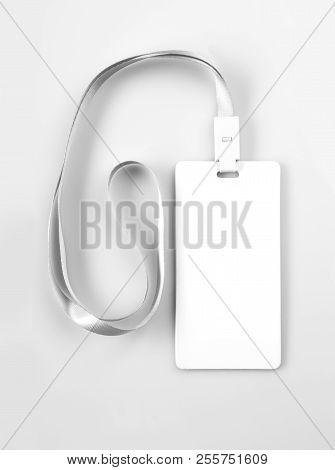 Blank White Lanyard Tag Badge Mockup On Grey Background