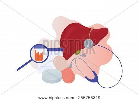 Hepatology And Liver Disease Awareness Vector Illustration. Liver Detoxification And Hepatitis Aware