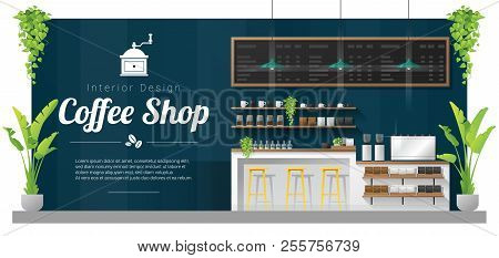 Interior Background , Modern Coffee Shop Counter Bar Scene , Vector , Illustration