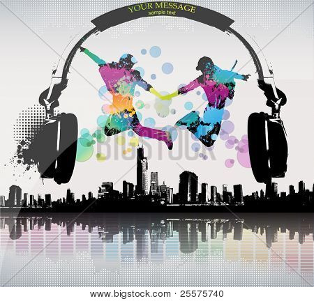 Template colour grunge the poster. Vector