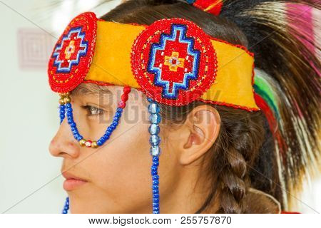 Santa Fe, New Mexico, Usa - August 18, 2013: Santa Fe Indian Market, Teenager, Native American, Trad