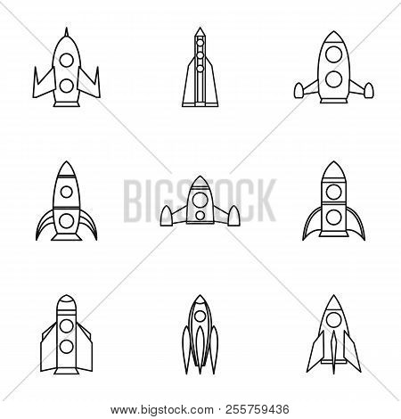 Flight In Cosmo Icons Set. Outline Illustration Of 9 Flight In Cosmo Icons For Web