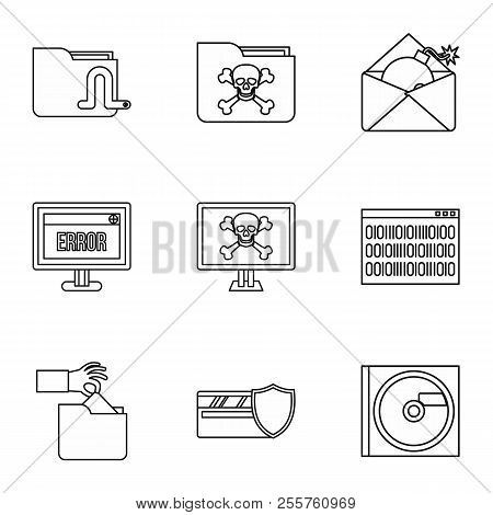 Ddos attack icons set. Outline illustration of 9 ddos attack icons for web poster