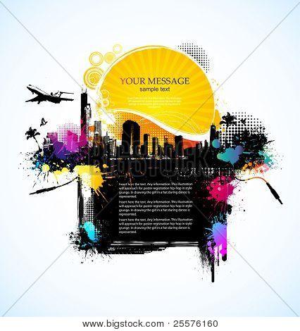 grunge poster vector  background
