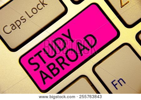 Text Sign Showing Study Abroad. Conceptual Photo Pursuing Educational Opportunities In A Foreign Cou