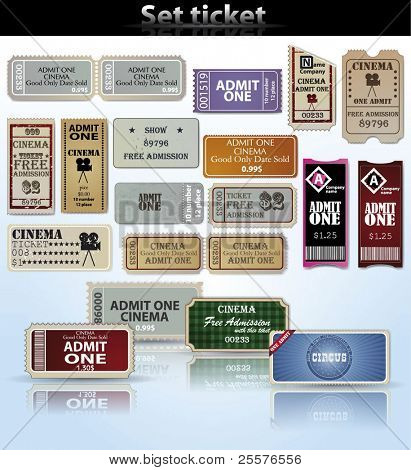 Set of tickets and marks in different styles. Vector