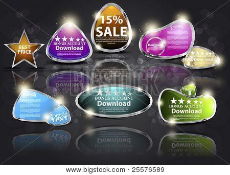 Set 3D business icon-emblems. Vector elements of design for web