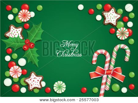 Christmas background with candies, composing a frame for any text