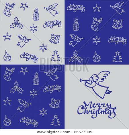 Christmas pattern with greeting inscription