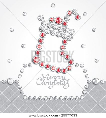 Christmas background with sock silhouette composed of crystals