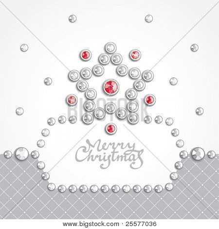 Christmas background with star silhouette composed of crystals