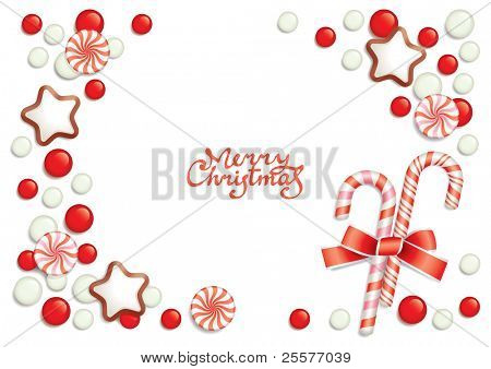 Christmas background with sweets composing a frame for your text