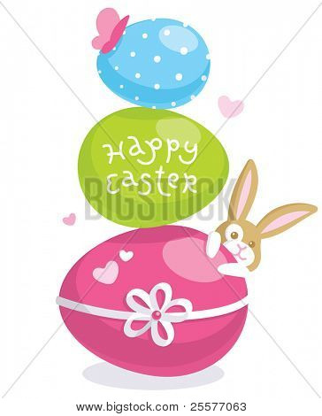Easter greeting card with cute bunny and colored eggs