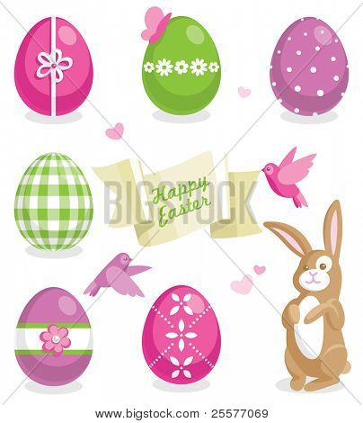 Easter set with colored eggs, cute bunny and other elements