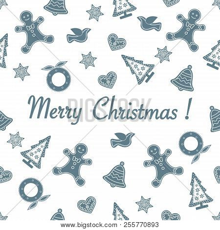 Seamless Pattern With Christmas And New Year Symbols. Christmas Trees, Christmas Wreath, Gingerbread