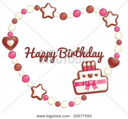 Birthday background with sweets making a heart shaped frame for greeting text