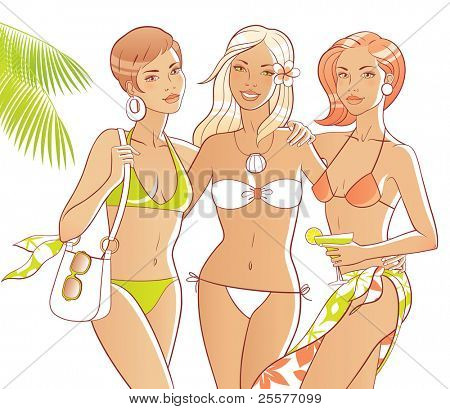 Three tanned women on the beach. Bodies and accessories are separate.
