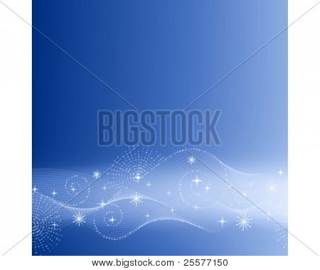 Festive abstract background with swirls and stars