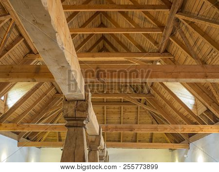 Massive Timber Structure Timberwork Of Roof On Old Baroque Farm House Made