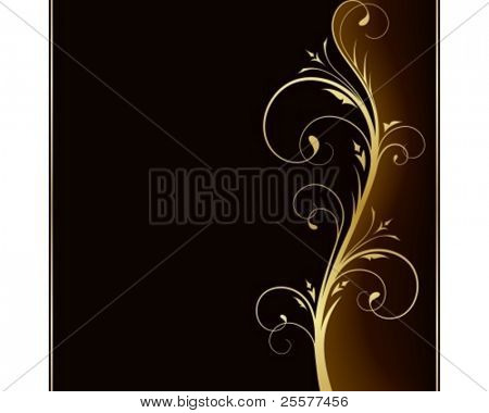 Square dark brown background with golden scrolls, swirls on the right hand side. Use of 6 global colors, linear gradients, blend.