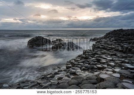 Beautiful Stones On The Giants Causeway, Northern Ireland.