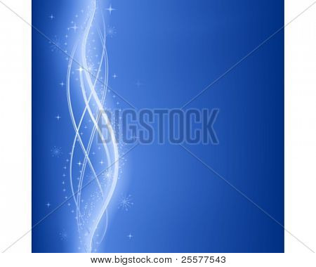 Abstract dark blue wavy fantasy background with glowing lines and stars. Use of 9 global colors, linear gradients, blends and clipping mask.
