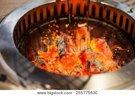 Selective Focus On Glowing And Flaming Hot Natural Wood Charcoal Lump In Food Restaurant Bbq Grill S