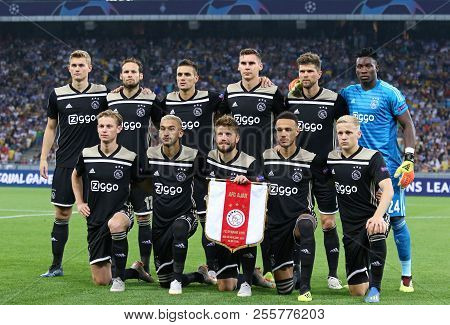 Kyiv, Ukraine - August 28, 2018: Afc Ajax Players Pose For A Group Photo Before The Uefa Champions L
