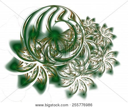 Abstract Christmas Decoration Background In Soft Green Color. Beautiful Winter Pattern With Snowflak