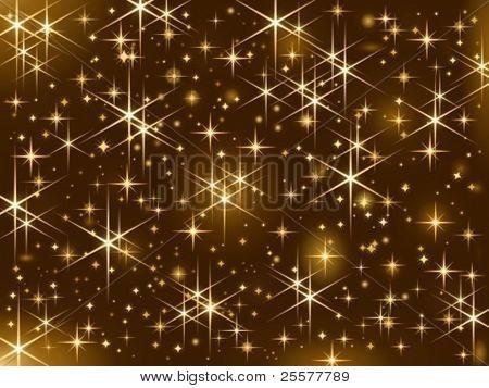 Dunklen braunen Hintergrund mit funkelnden goldenen Sternen.