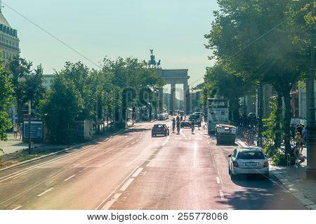 Berlin, Germany - August 16, 2018: Pariser Platz Street With Brandenburg Gate In Background.
