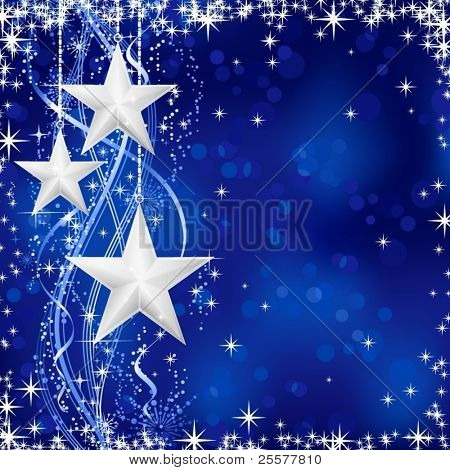 Christmas / winter background with stars, snow flakes and wavy lines on blue background with light dots for your festive occasions. No transparencies.