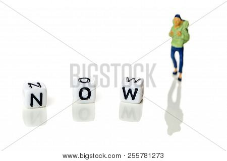 Adding White Cube With Letter W To The Word No Creating New Word Now On White Background With Miniat