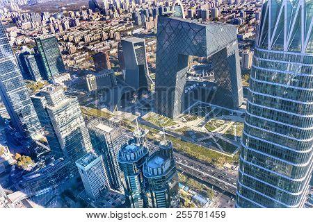Beijing, China - November 23, 2017 China World Trade Center Z15 Towers Skyscrapers Cctv Pants Buildi