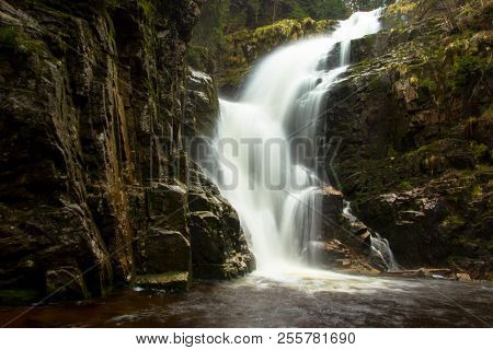 Kamienczyk Waterfall, The Highest Waterfall In Polish. Famous Kamienczyk Waterfall, Poland.
