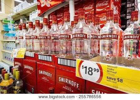 New Orleans, Usa - Nov 27, 2017: Large Bottles Of Smirnoff Triple Proof Vodka On Display For Sale At