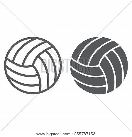 Volleyball Line And Glyph Icon, Game And Sport, Ball Sign, Vector Graphics, A Linear Pattern On A Wh