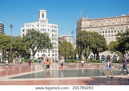 Barcelona, Spain - July 31, 2012: View Over Plaza Catalunya And Buildings On A Sunny Summer Day On J
