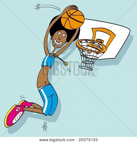 basketball player Cartoon of a basket ball player poster