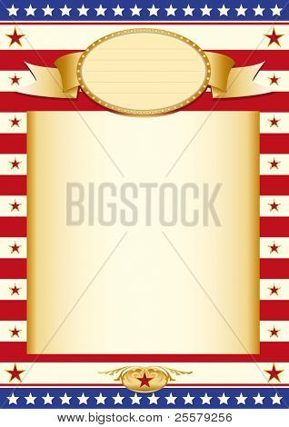 American stars poster Poster with US Flag and a large beige colored frame