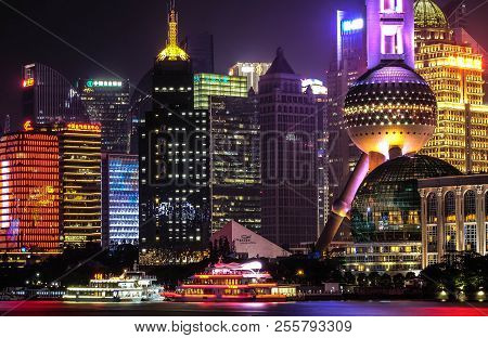 Shanghai, China - Jun 21 , 2018 :nightscape Of Lujiazui Skyline As Seen From The Bund, Across The Hu