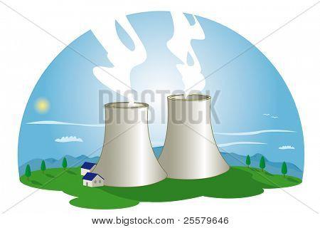 Nuclear Power Station. A nuclear power station in nature