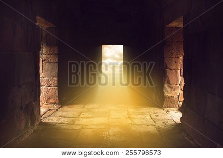 Sunlight Shines Through The Door In The End Of Ancient Stone Temple, Travel In Mysterious Land.