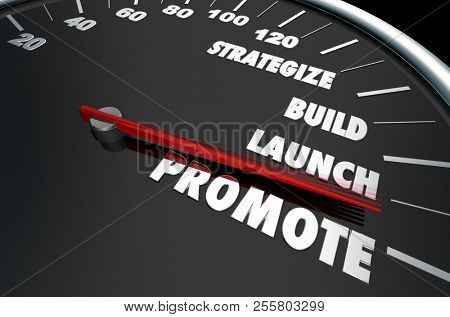 Strategize Build Launch Promote Speedometer Words 3d Illustration