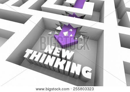 New Thinking Creative Imagination Unique Ideas Maze 3d Illustration