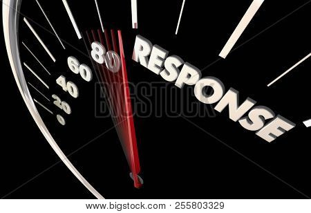 Response Time Rate Answer Responsive Service Speedometer Word 3d Illustration