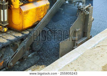 Street Resurfacing. Fresh Asphalt Construction. New Road Construction